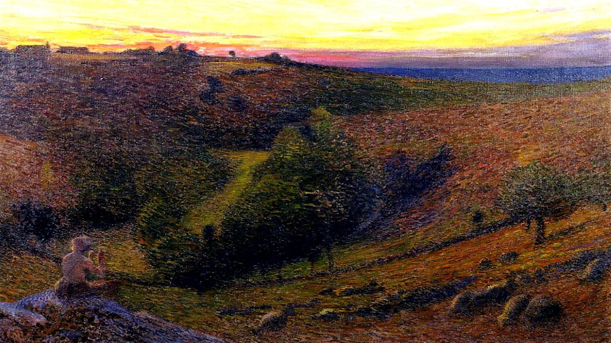 'Flöjtspel till solnedgång'. Henri Martin, 1898