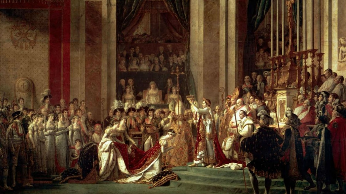 The Consecration of the Emperor Napoleon and the Coronation of the Empress Josephine by Pope Pius VII. Jacques-Louis David (1807)