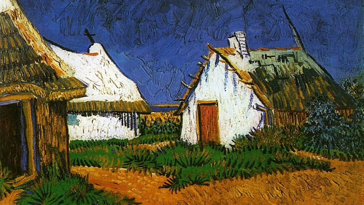 'Tre vita stugor i Saintes-Maries'. Vincent van Gogh, 1888