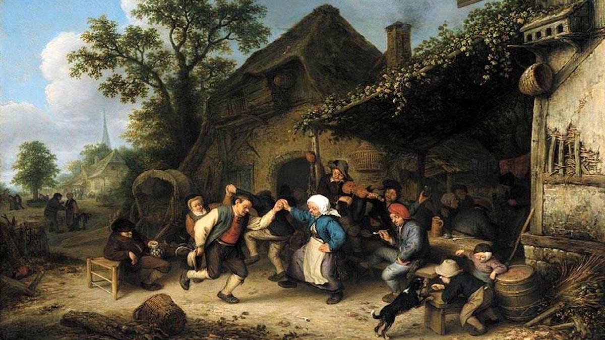 'Fest och dans utanför ett värdshus'. Adriaen van Ostade, 1660