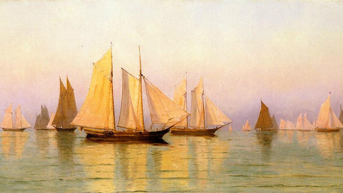 'Sloops and Schooners at Evening Calm'. Bild: William Bradford (1889)