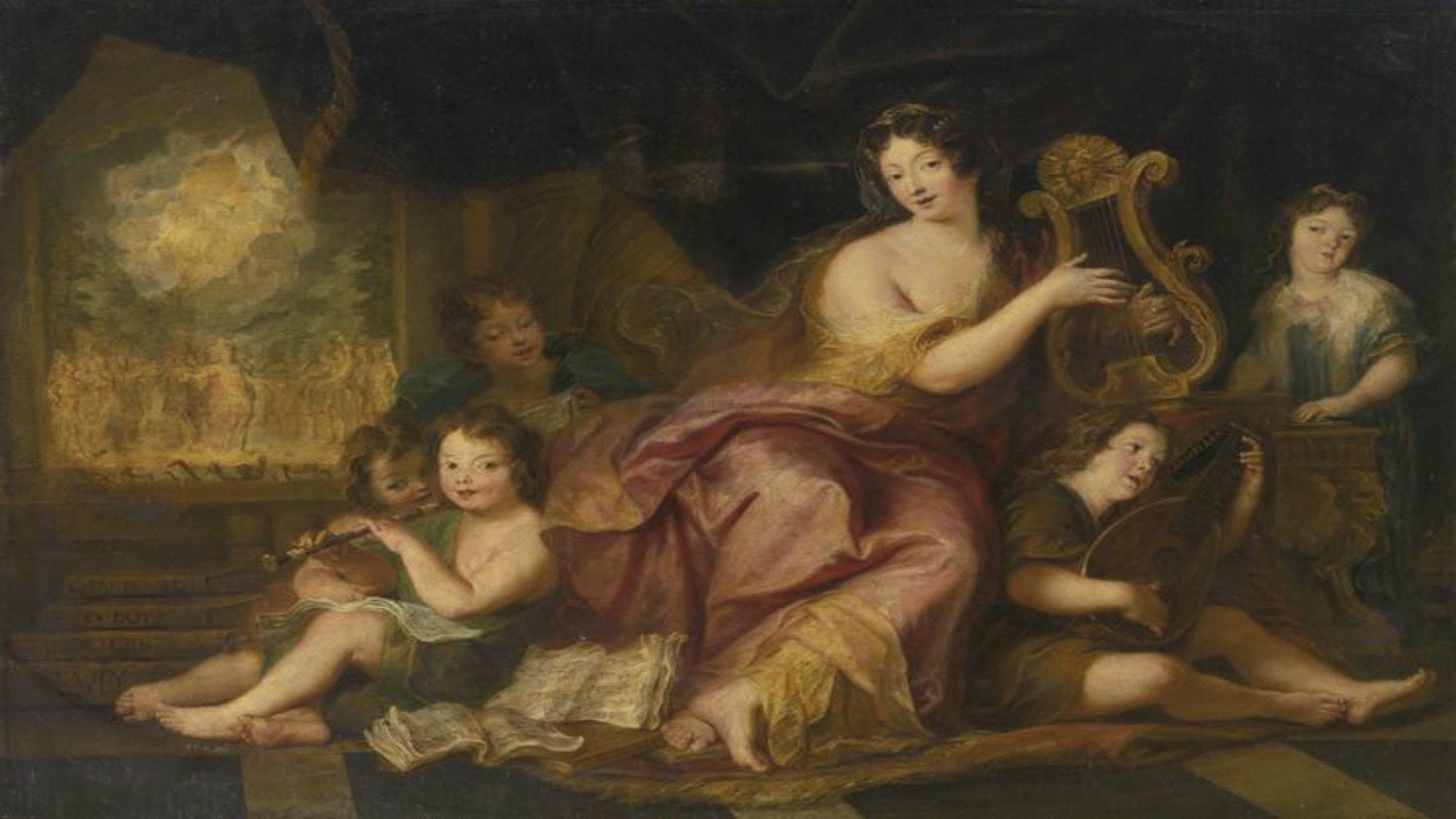 Allegory of Music Portrait of Madame de Maintenon with the natural children of Louis XIV and Madame de Montespan (1684). Antoine Coypel.
