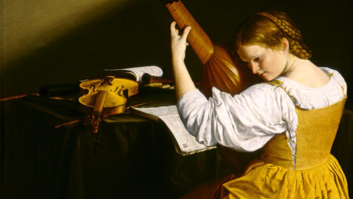 'Lutspelaren' (antas vara ett porträtt av Francesca Caccini). Orazio Gentileschi (1563–1639)