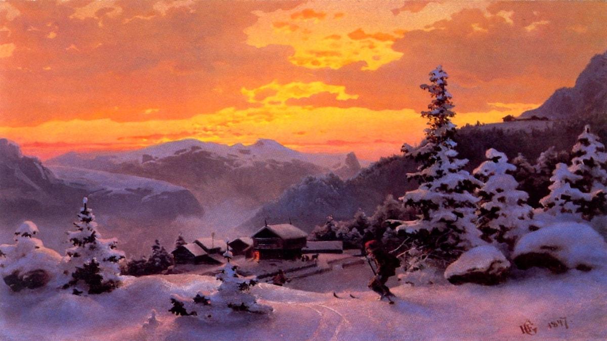 'Vintereftermiddag'. Hans Gude, 1847