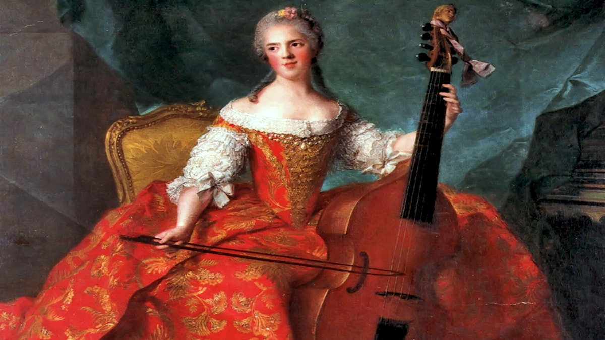 'Madame Henriette spelar viola da gamba'. Jean-Marc Nattier (1754).