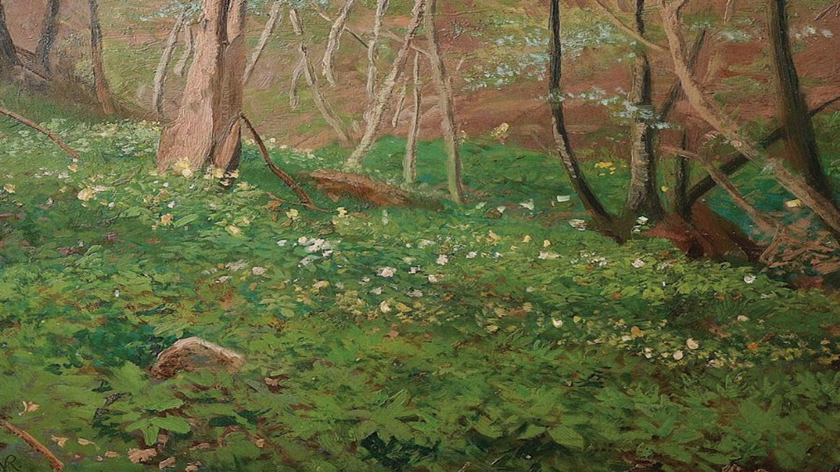 'Vår i skogen vid Aumühle'. Valentin Ruths (1825-1905).