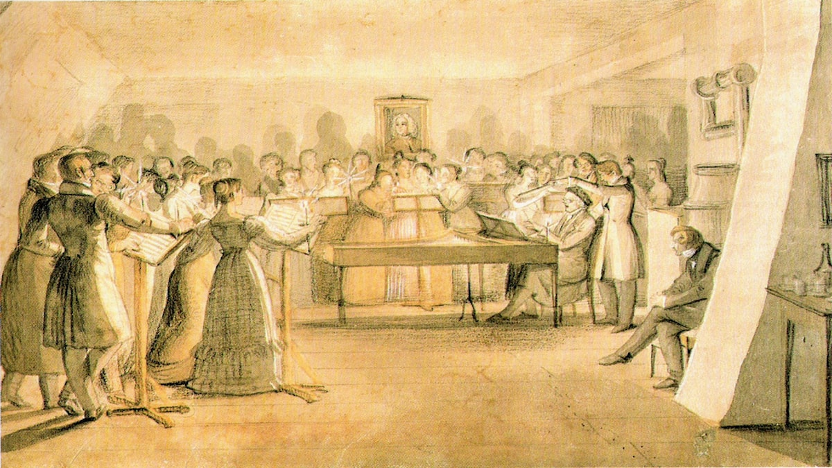 'Körrepetition'. Anton Friedrich Thibaut (före 1840).