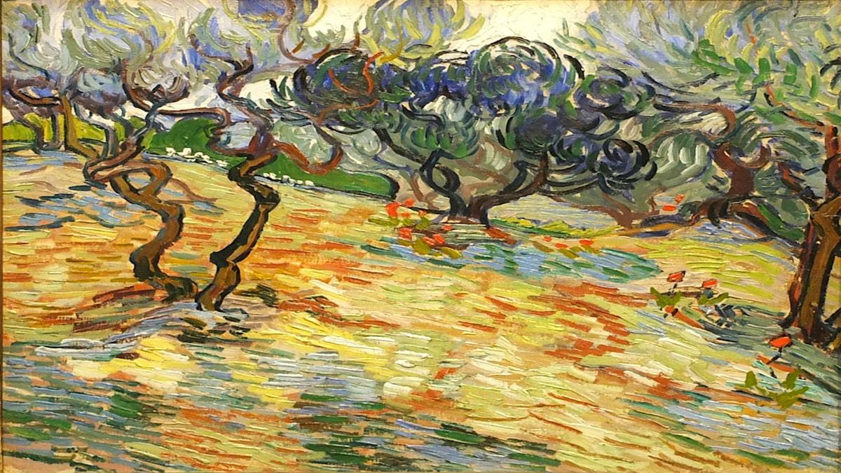 'Olivträd i Getsemanes trädgård på Oljeberget'. Vincent van Gogh (1889).