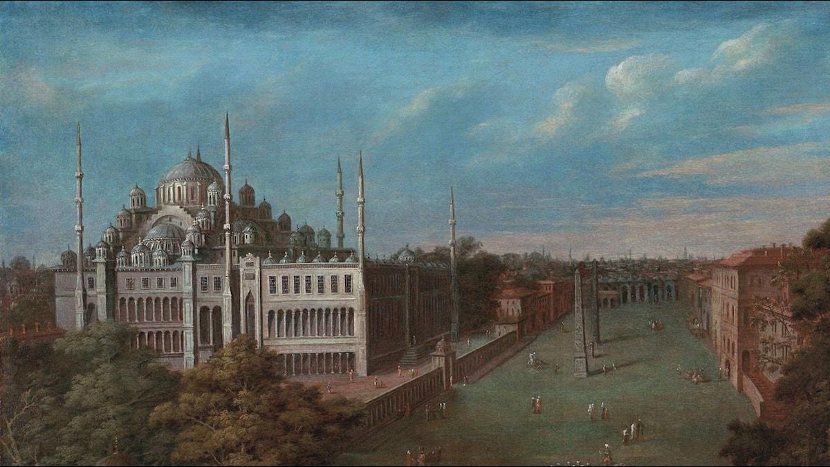 De grootvizier steekt de Atmeydanı (hippodroom) over. Jean Baptiste van Mour (1720-1737)