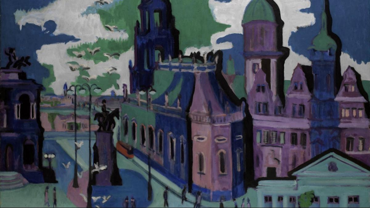 View of Dresden: Schlossplatz. Ernst Ludwig Kirchner (1926)