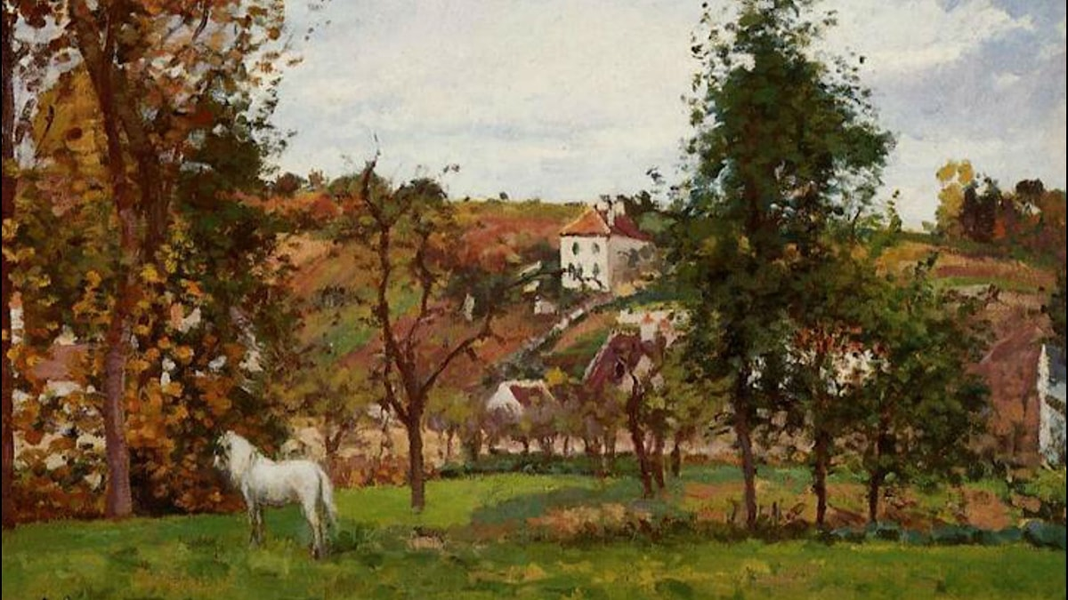 Landscape With A White Horse In A Field. Camille Pissarro (1872)