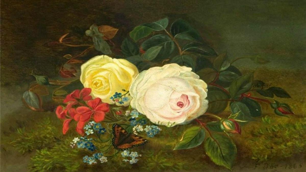 'Blommor och fjäril'. Frants Bøe (1865).