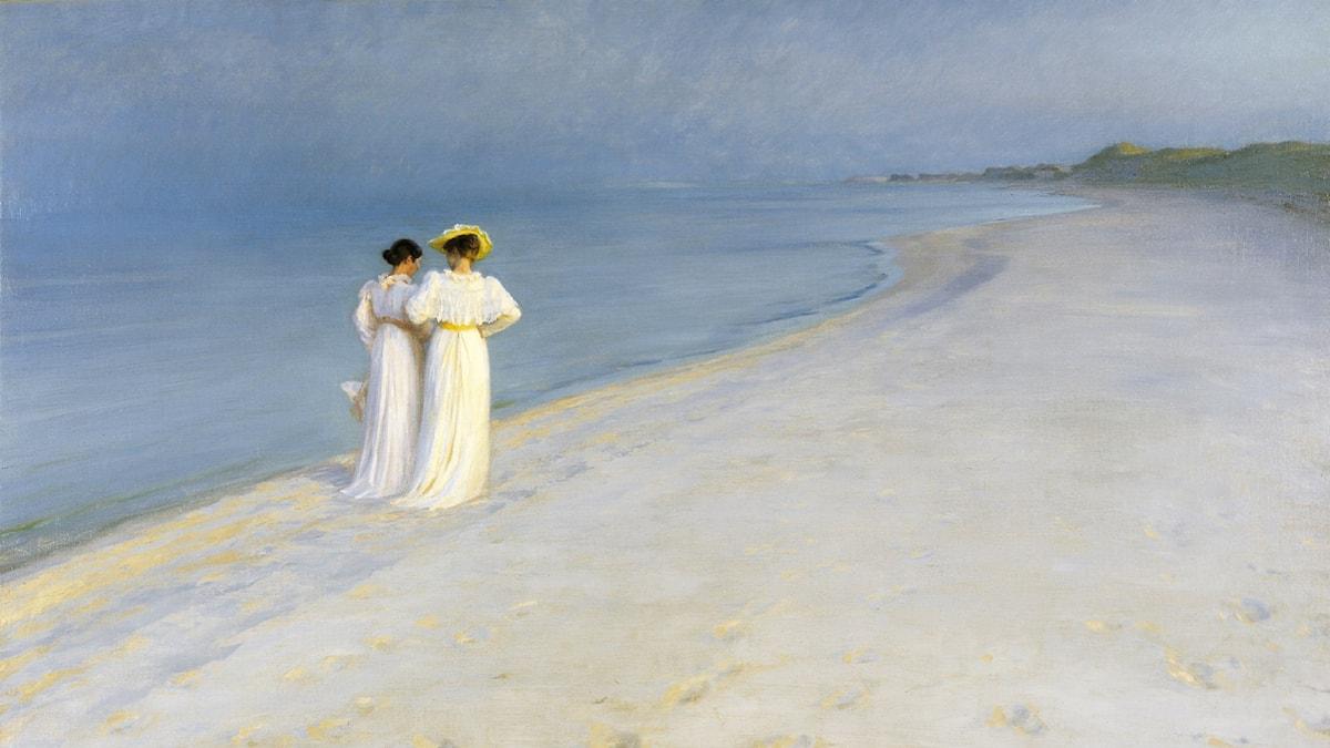 'Sommarkväll på Skagens strand'. P.S. Krøyer (1893).