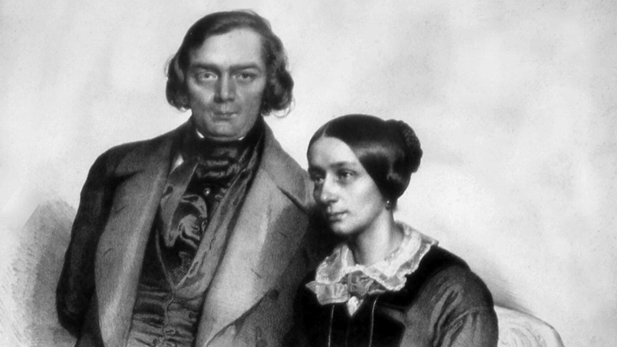 Litografi av Robert och Clara Schumann. Eduard Kaiser, 1847.