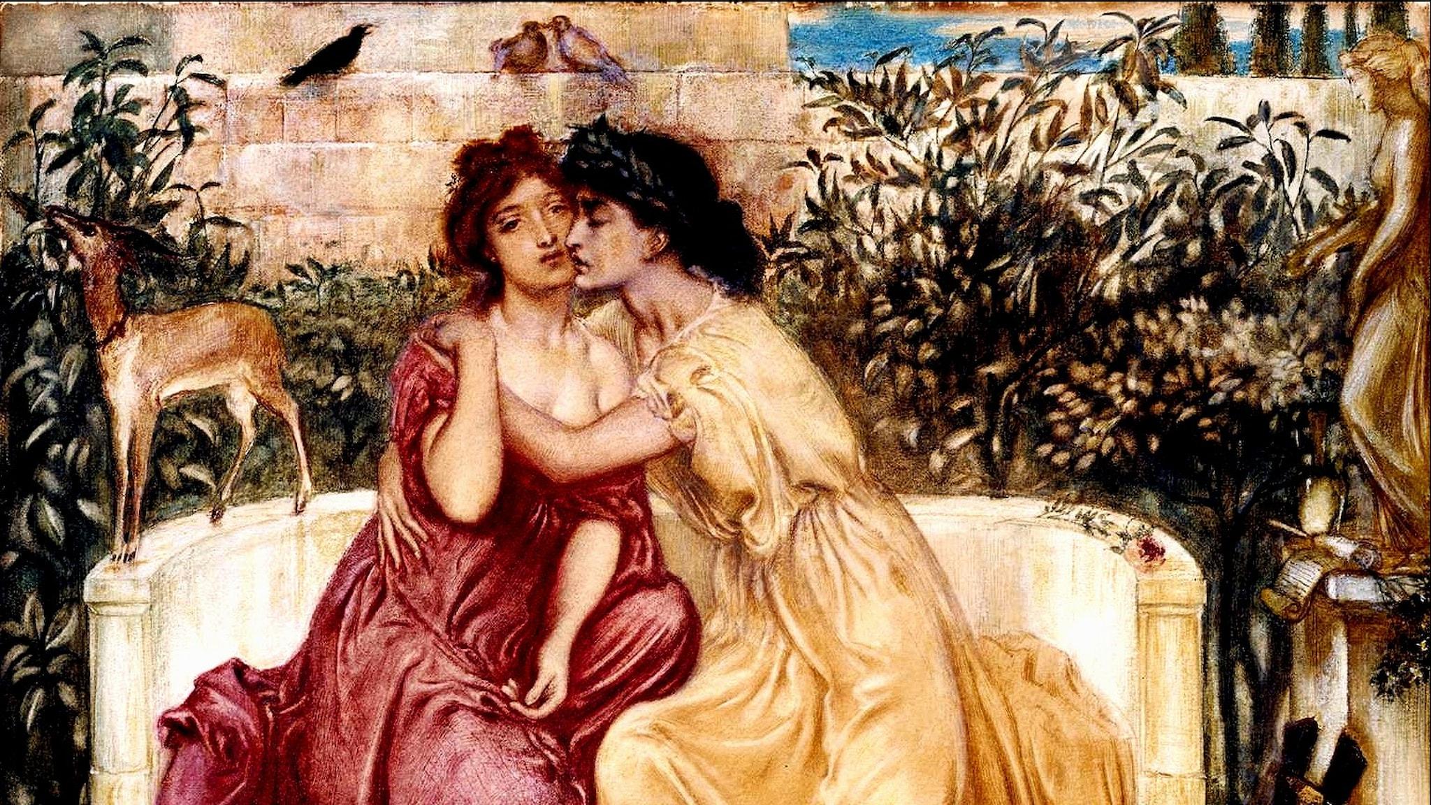 Sappho och Erinna i trädgården i Mytilene. Simeon Solomon, 1864.