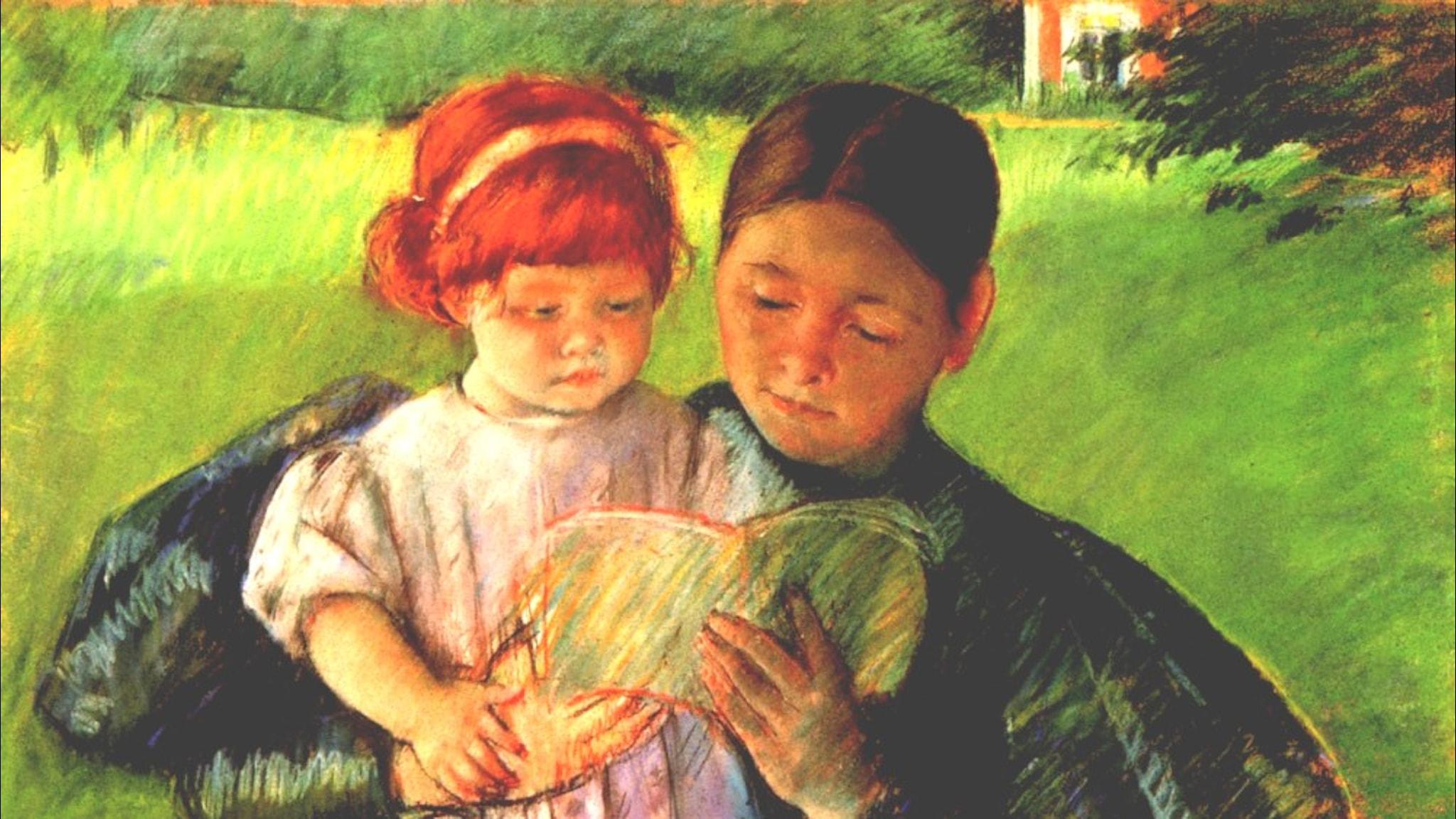 Barnflicka läser för liten flicka. Mary Cassatt, 1895.