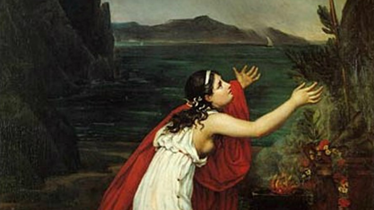 'Sapfo ber till Afrodite'. Filippos Margaritis (1800-tal).