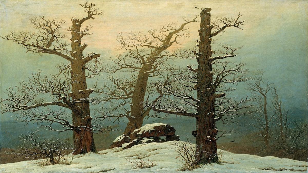 'Cairn i snö'. Caspar David Friedrich (1807).