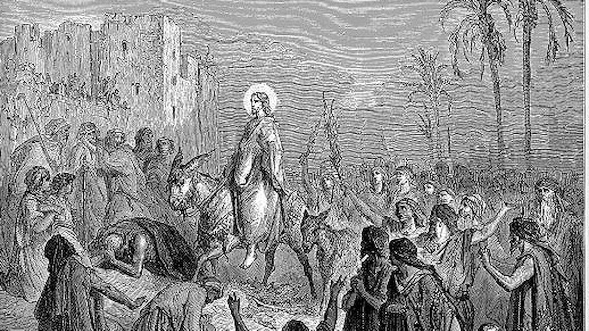 Jesus rider in i Jerusalem (Gustave Dore, 1832-83).