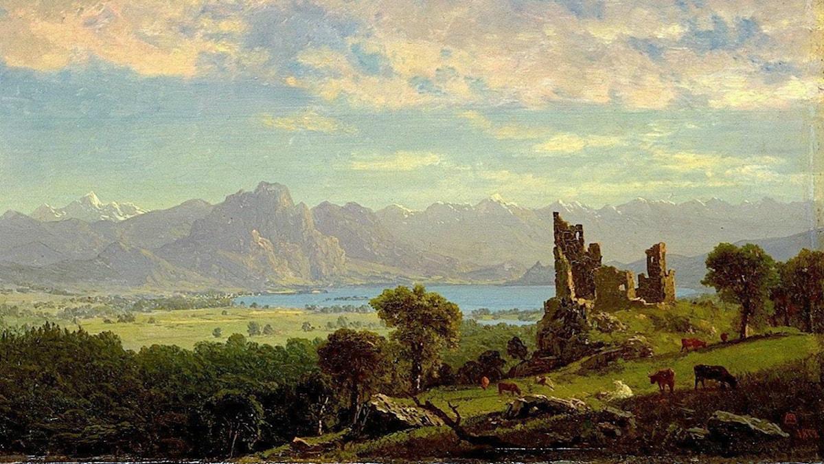 'Scen i Tyrolen'. Albert Bierstadt (1854).
