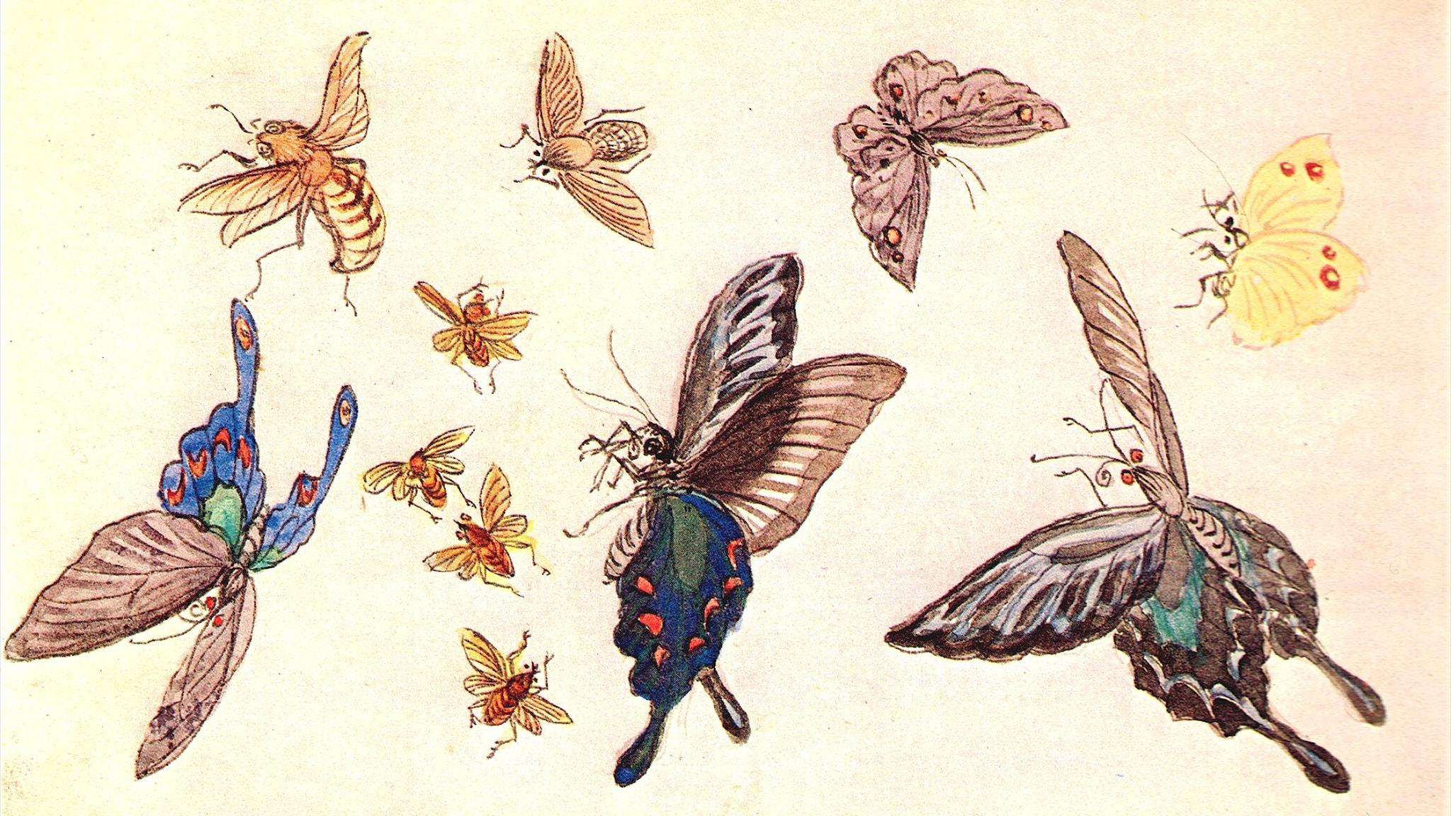 Från anteckningsboken: sorg över fjärilar (Fujishima Takeji, 1906).