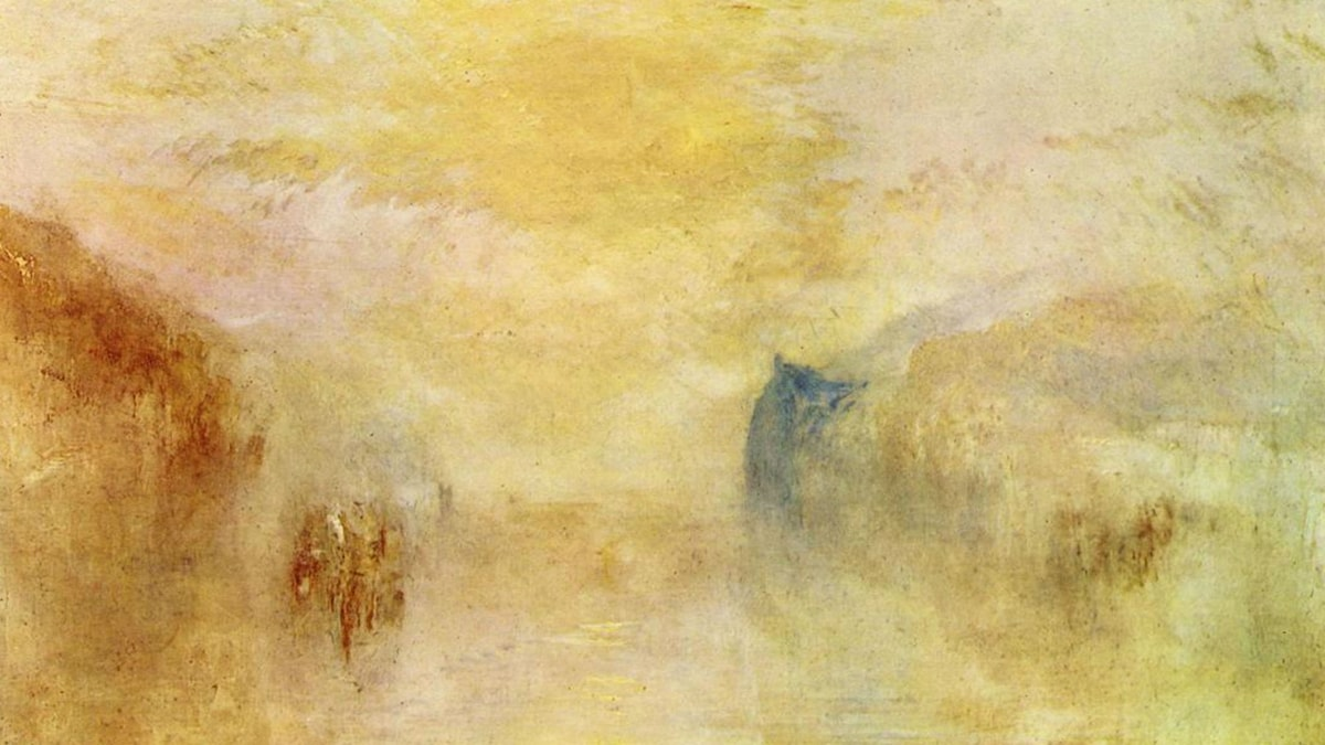 Sunrise, with a Boat between Headlands. William Turner (ca. 1835-1840)