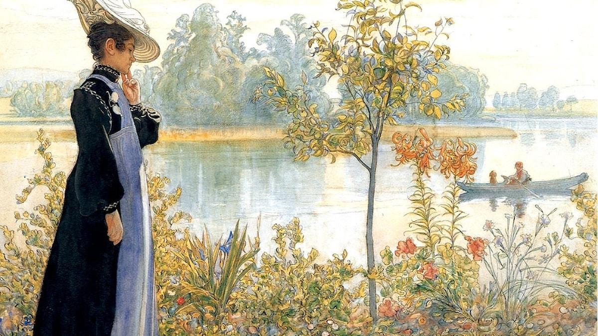 Karin vid stranden. Carl Larsson (1853-1919)