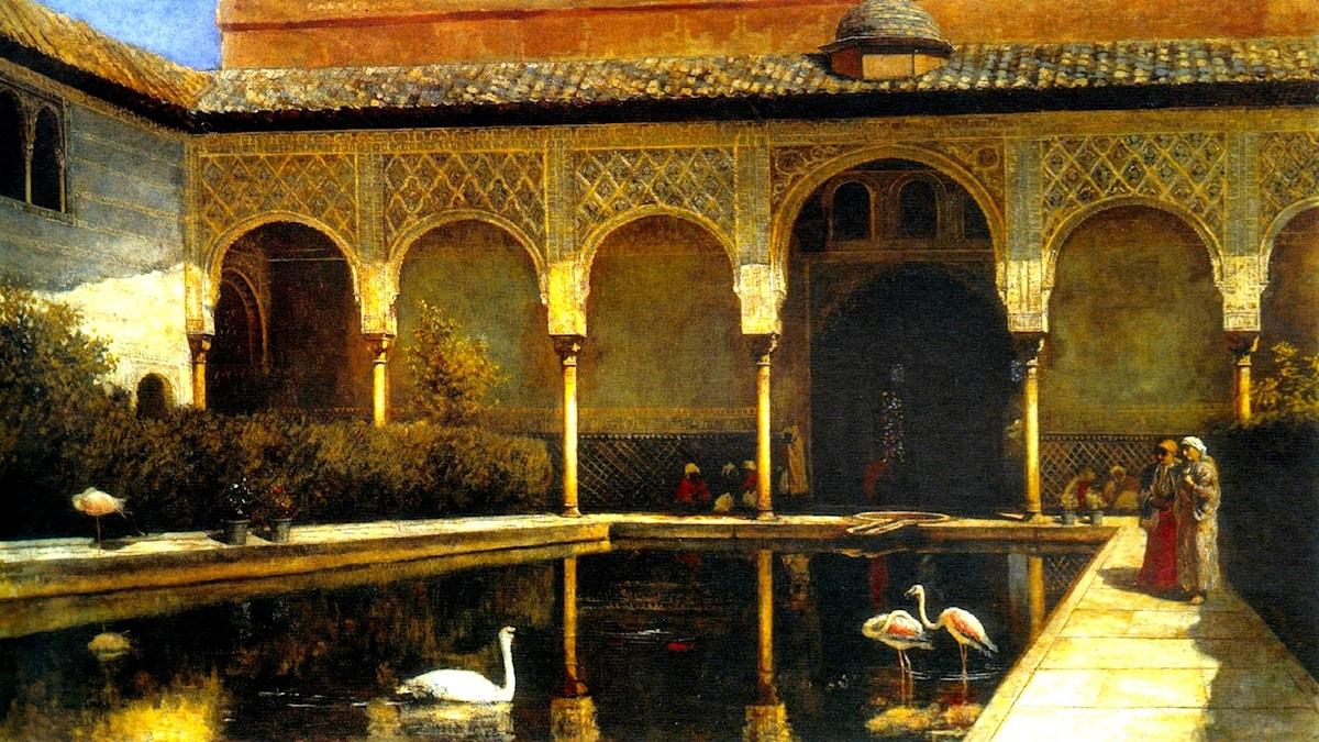 En bakgård i Alhambra. Edwin Lord Weeks, 1876.