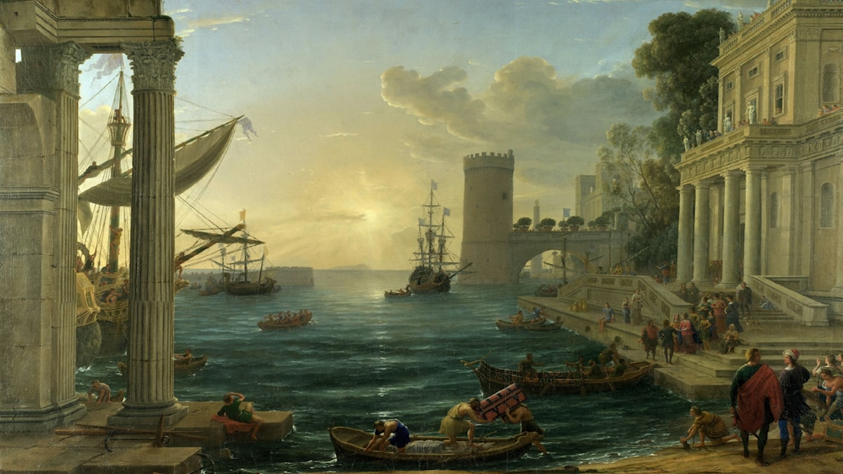 The Embarkation of the Queen of Sheba. Claude Lorrain (1648)