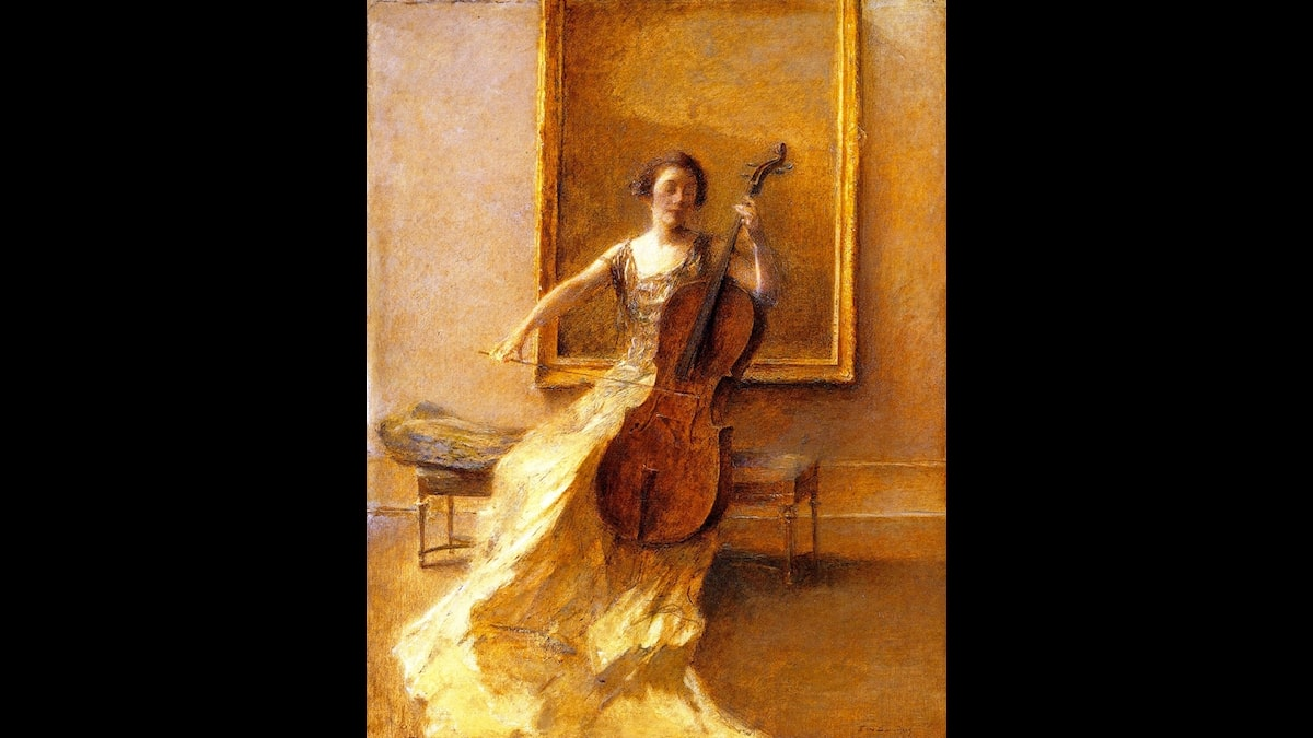 Thomas Dewing: Lady with a cello