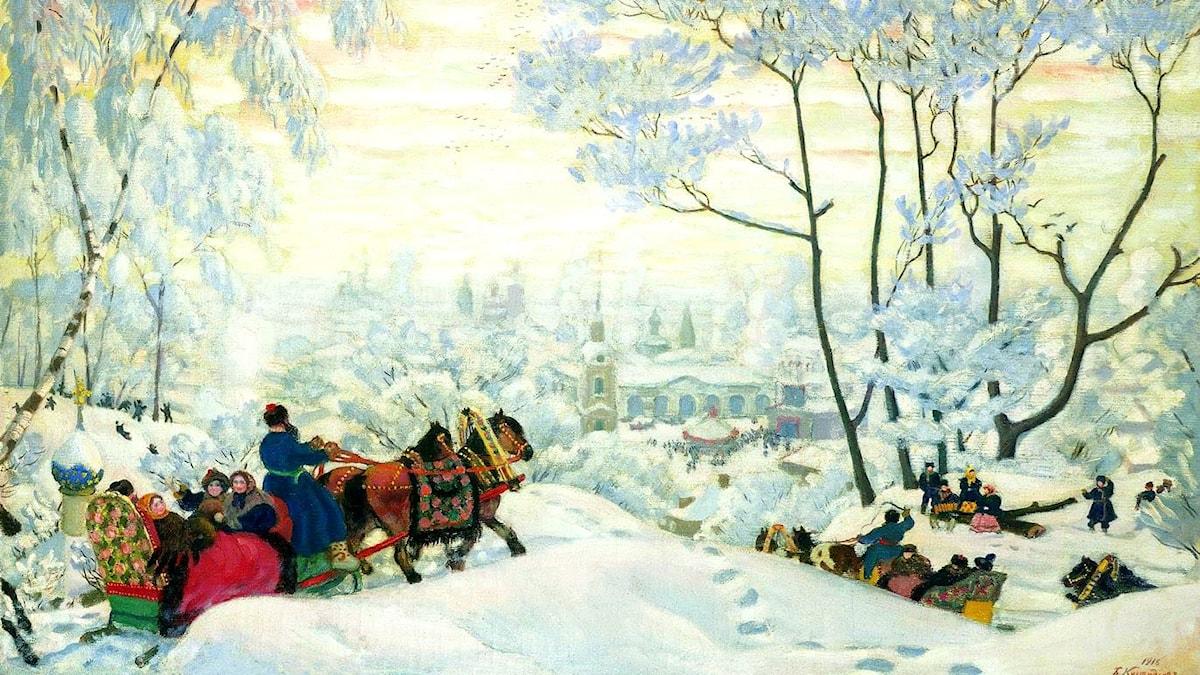 Boris Kustodiev: Vinter (1916)