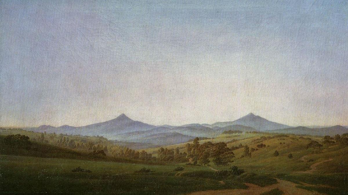 Bohemian Landscape with Mount Millsheauer. Caspar David Friedrich.