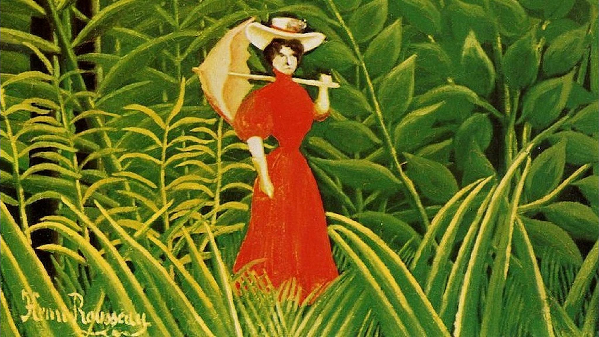 Kvinna i rött i skogen. Henri Rousseau-1907