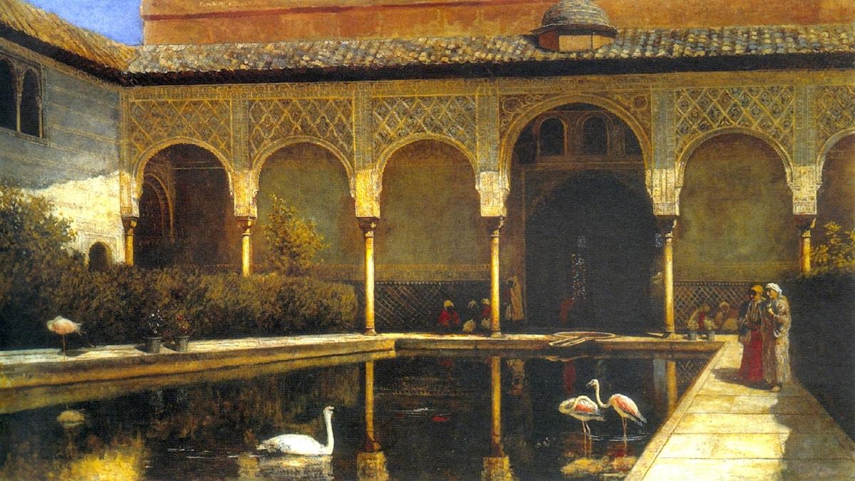 En bakgård i Alhambra. Edwin Lord Weeks, 1876