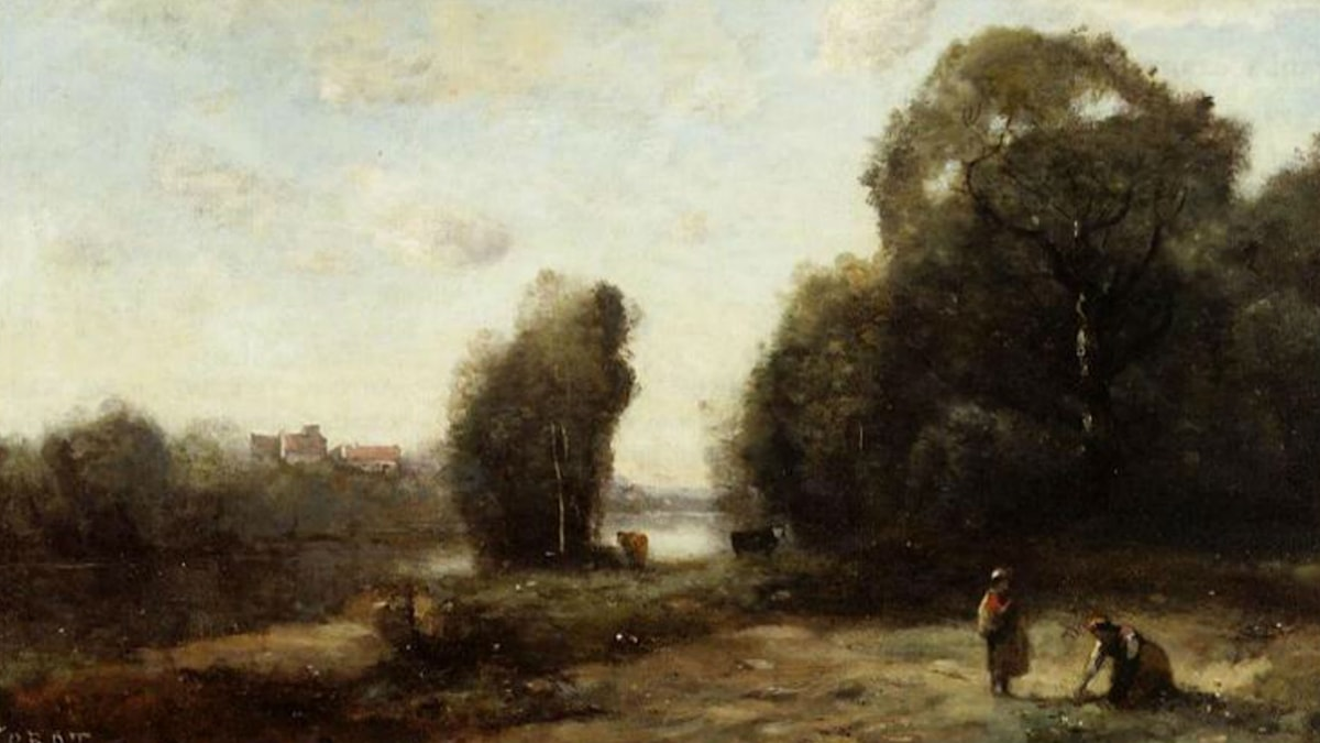 Camille Corot (1865-70). Field by a River.