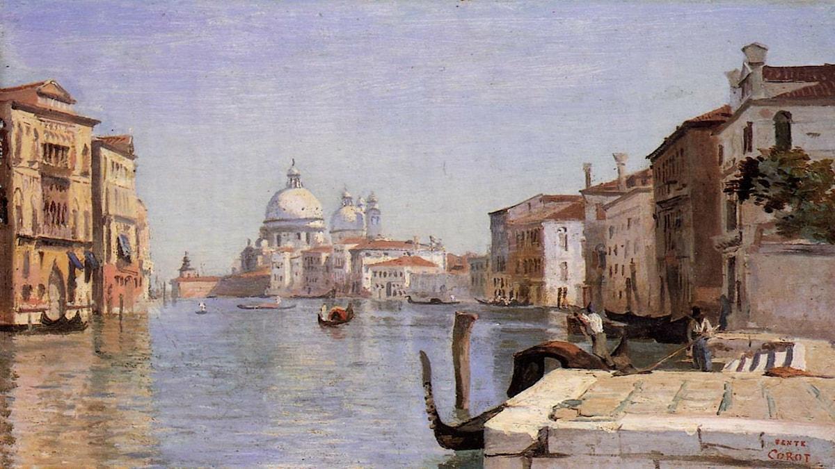 Venice View of Campo della Carita Looking Towards the Dome of the Salute. Camille Corot (1834)