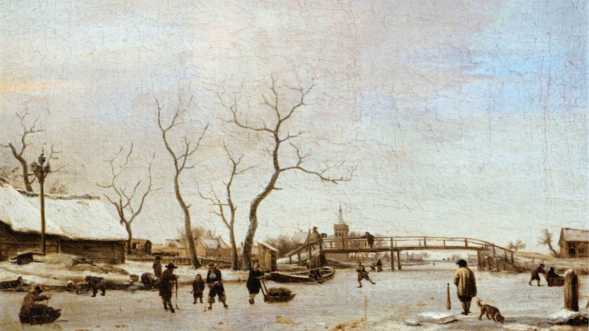 Frozen Canal with Skaters and Hockey Players. Adriaen van de Velde (1668)