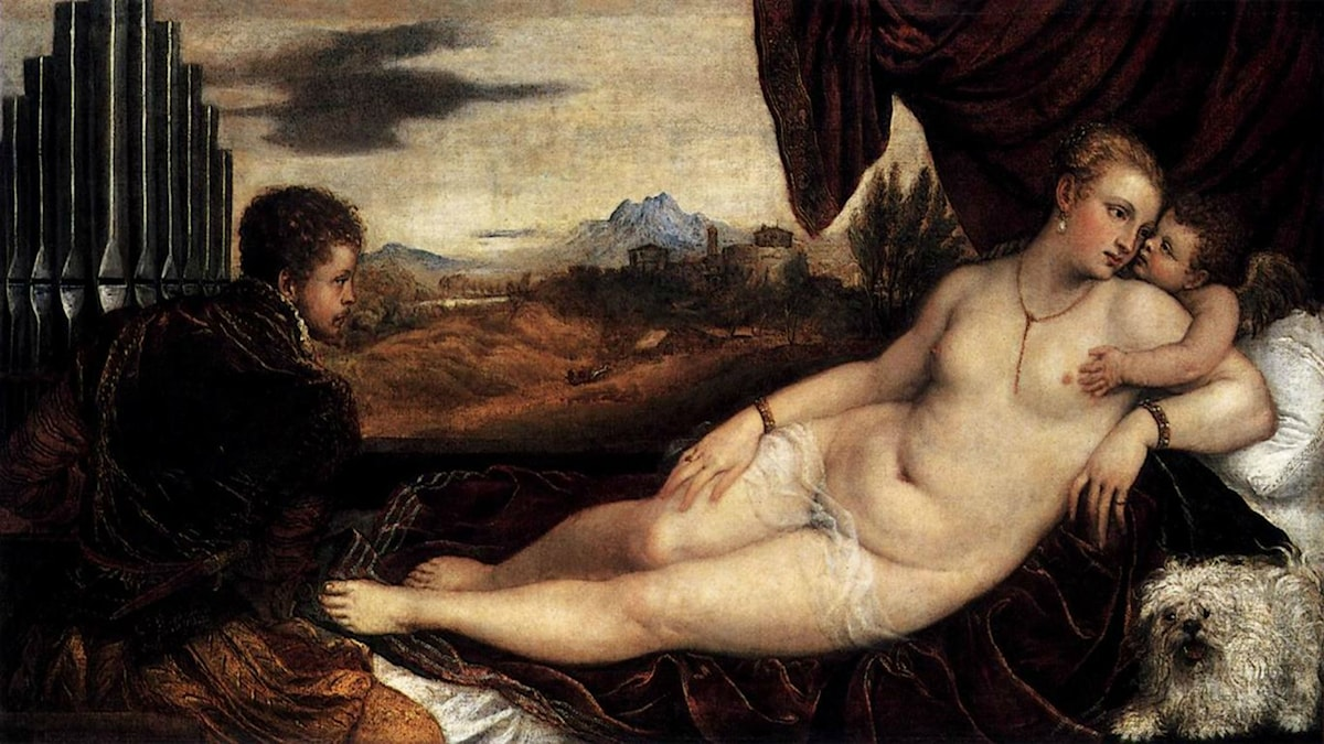 Venus and Cupid with an Organist. Titian (1548-1549).