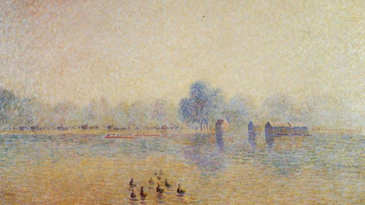 The Serpentine, Hyde Park, Fog Effect. Camille Pissarro (1890)