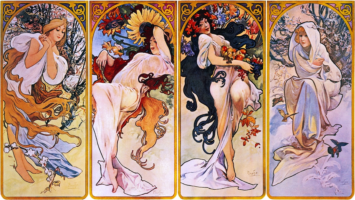 Cropped print of four panels each depicting one of the four seasons personified by a woman. Alphonse Mucha.