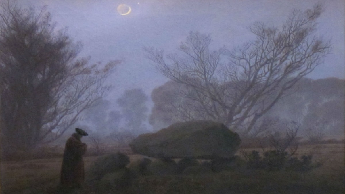 A Walk At Dusk. Caspar David Friedrich (1837)