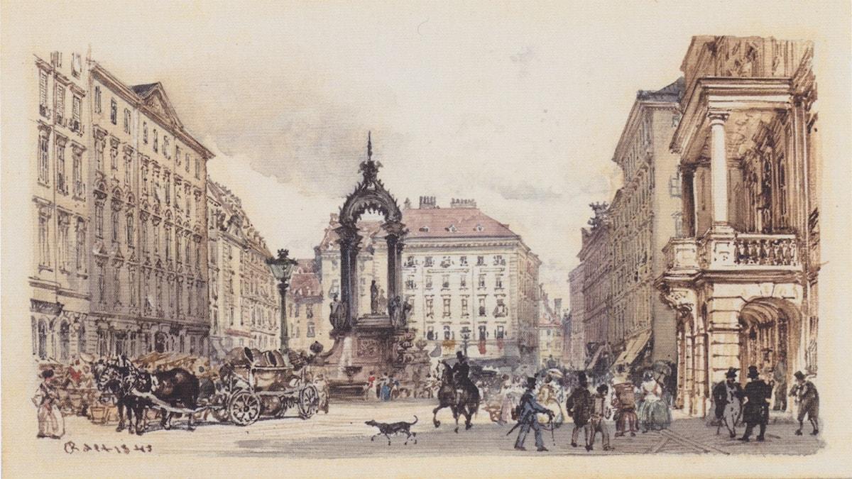 The large market in Vienna. Rudolf von Alt (1845)