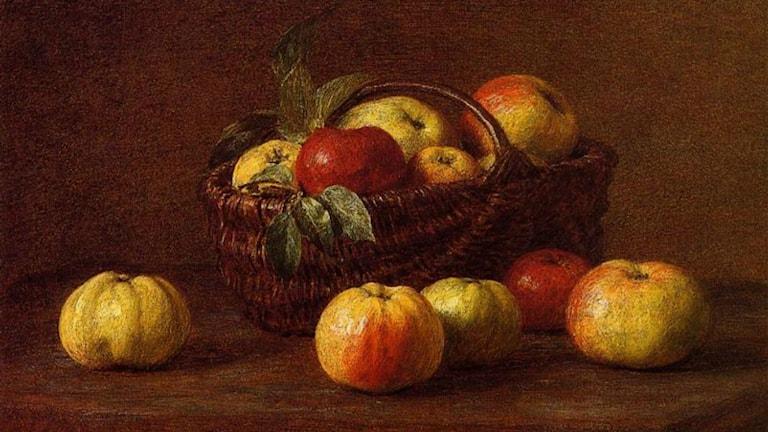 'Äpplen i en korg på ett bord'. Henri Fantin-Latour (1888).