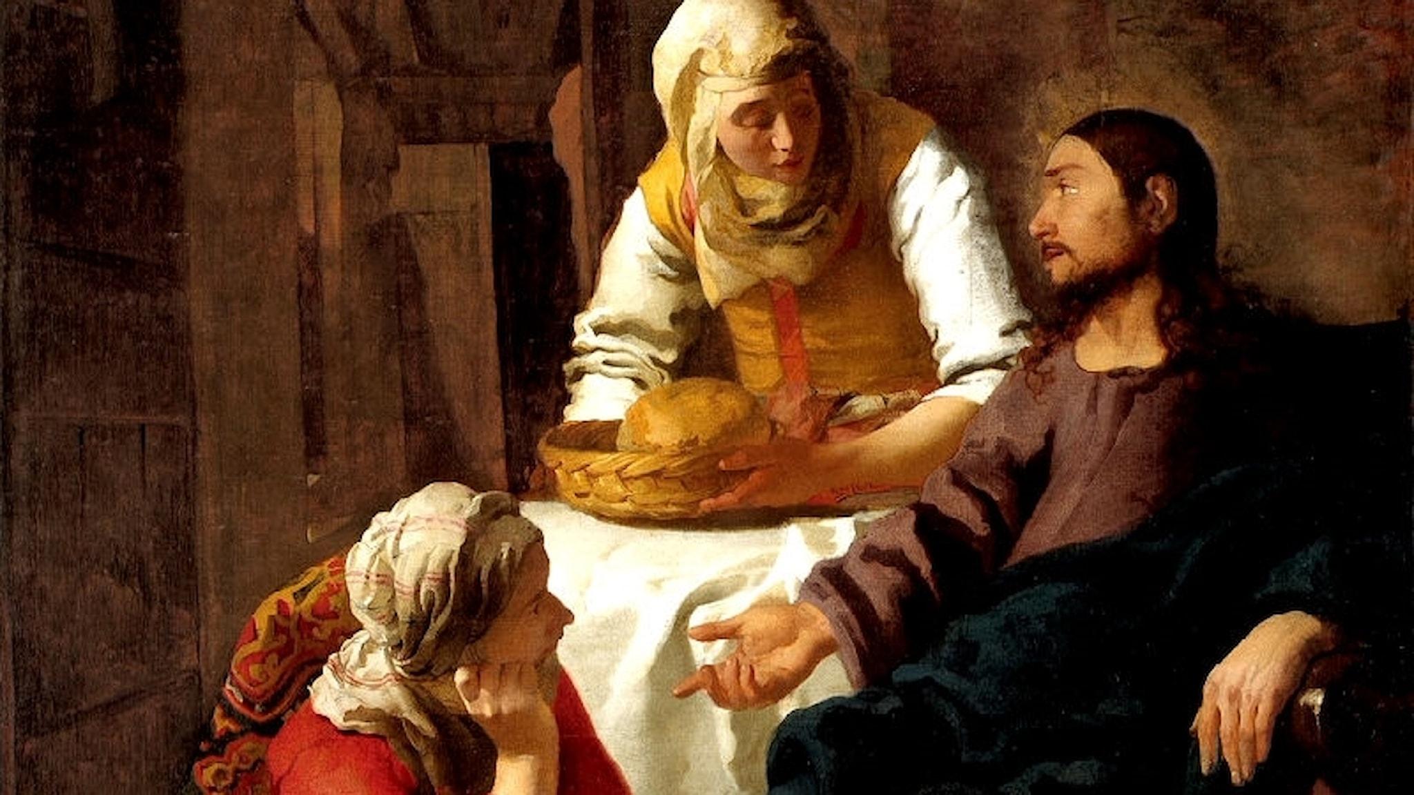Jesus hos Marta och Maria. Johannes Vermeer, 1654