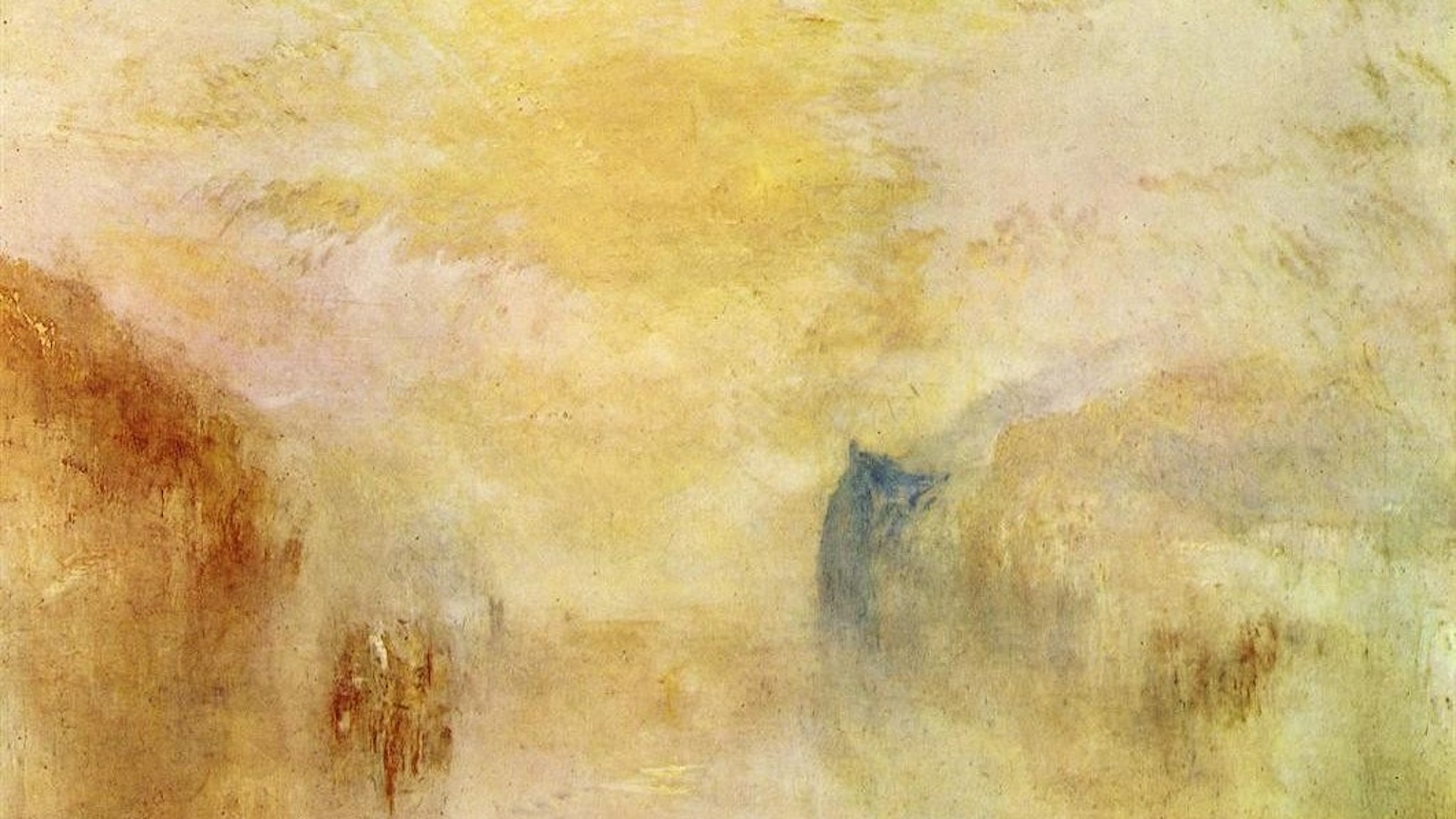 William Turner: Sunrise with a boat between headlands (1840)