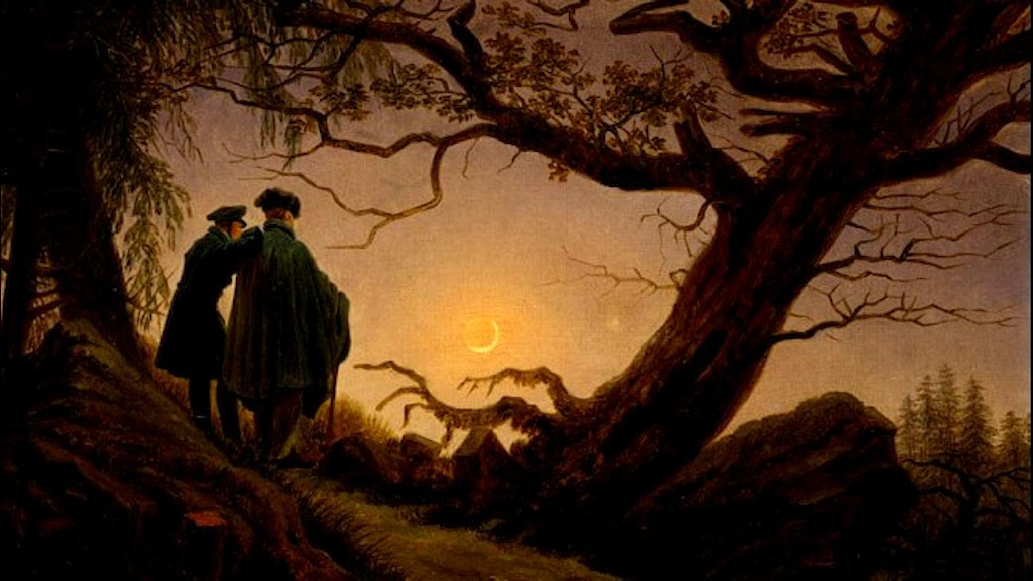 Two Men Contemplating the Moon. Caspar David Friedrich, 1825-30.