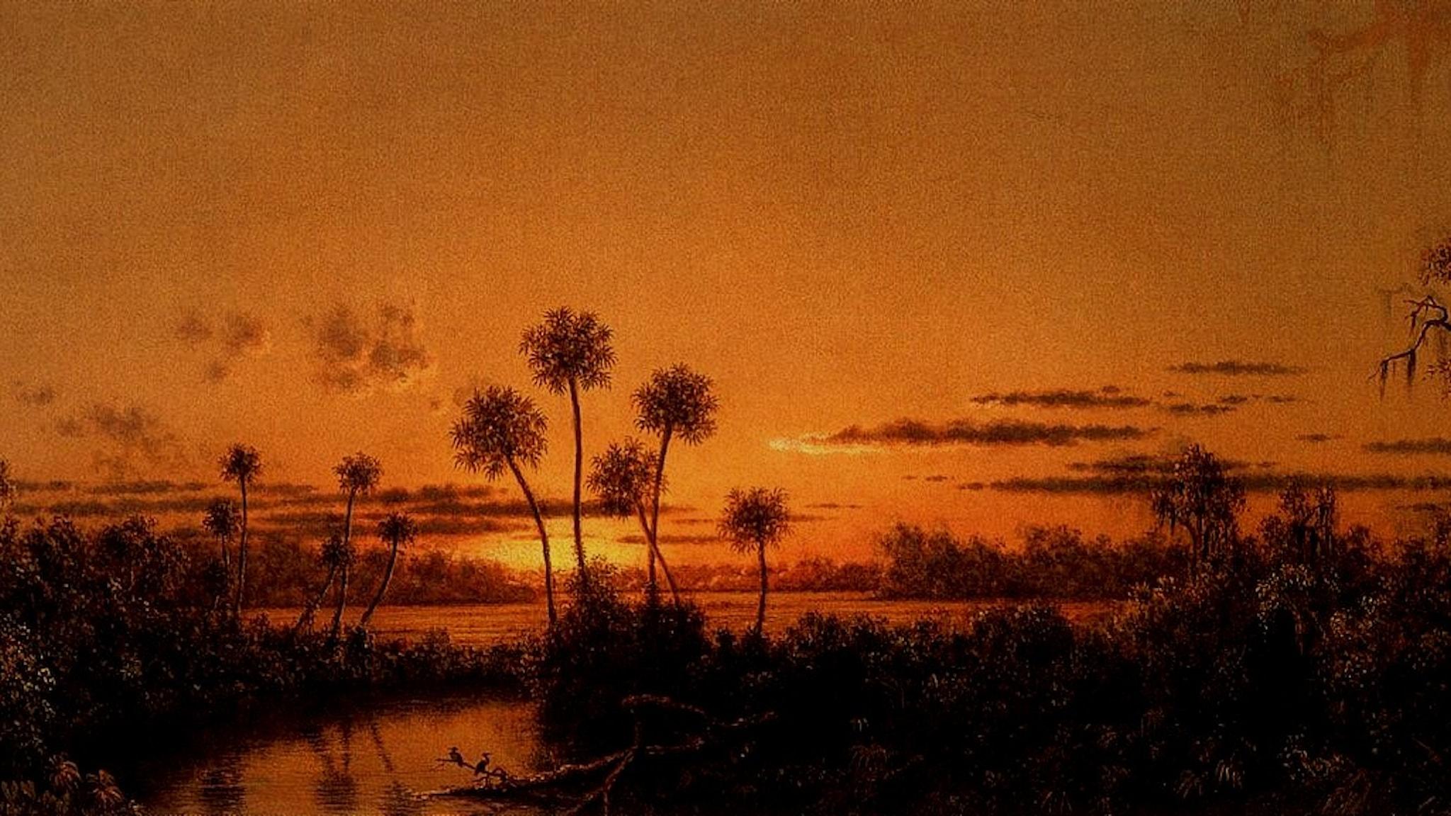 Floridaflod efter solnedgång. Martin Johnson Heade- 1900.