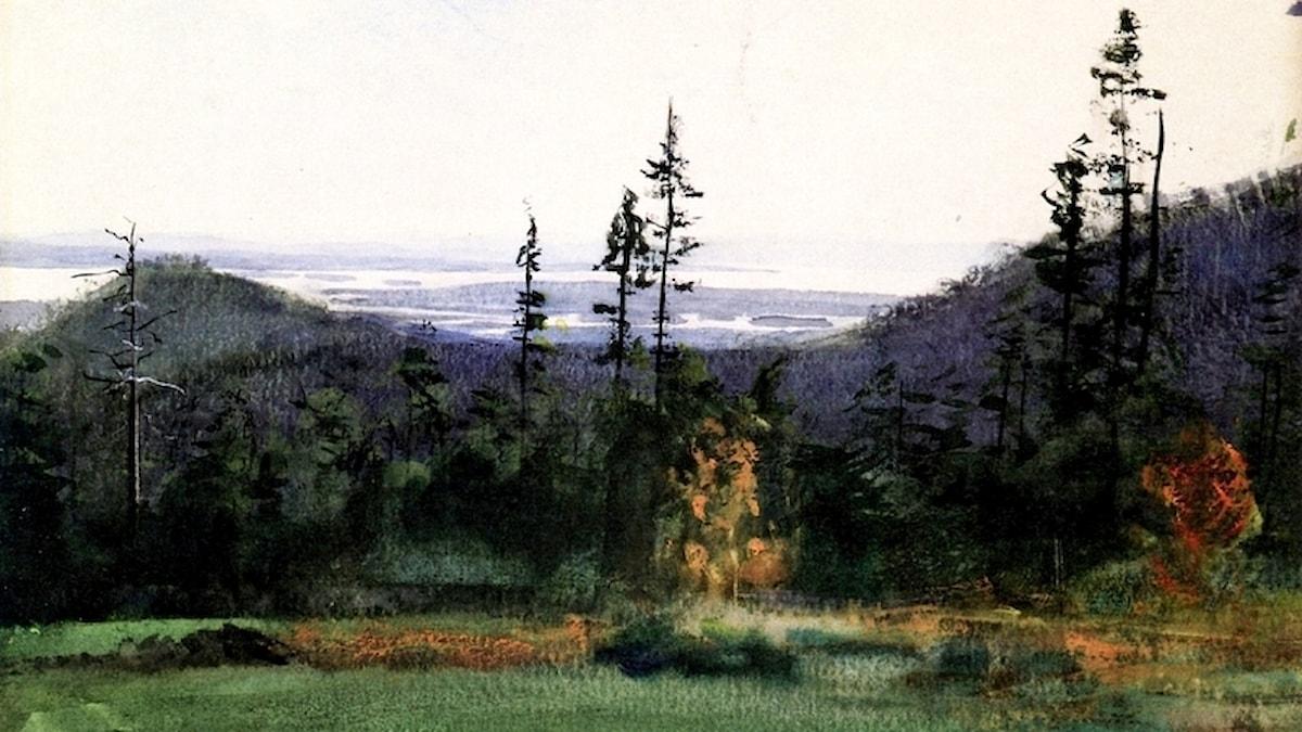 Vy över Siljan från Garberg. Anders Zorn (1886).