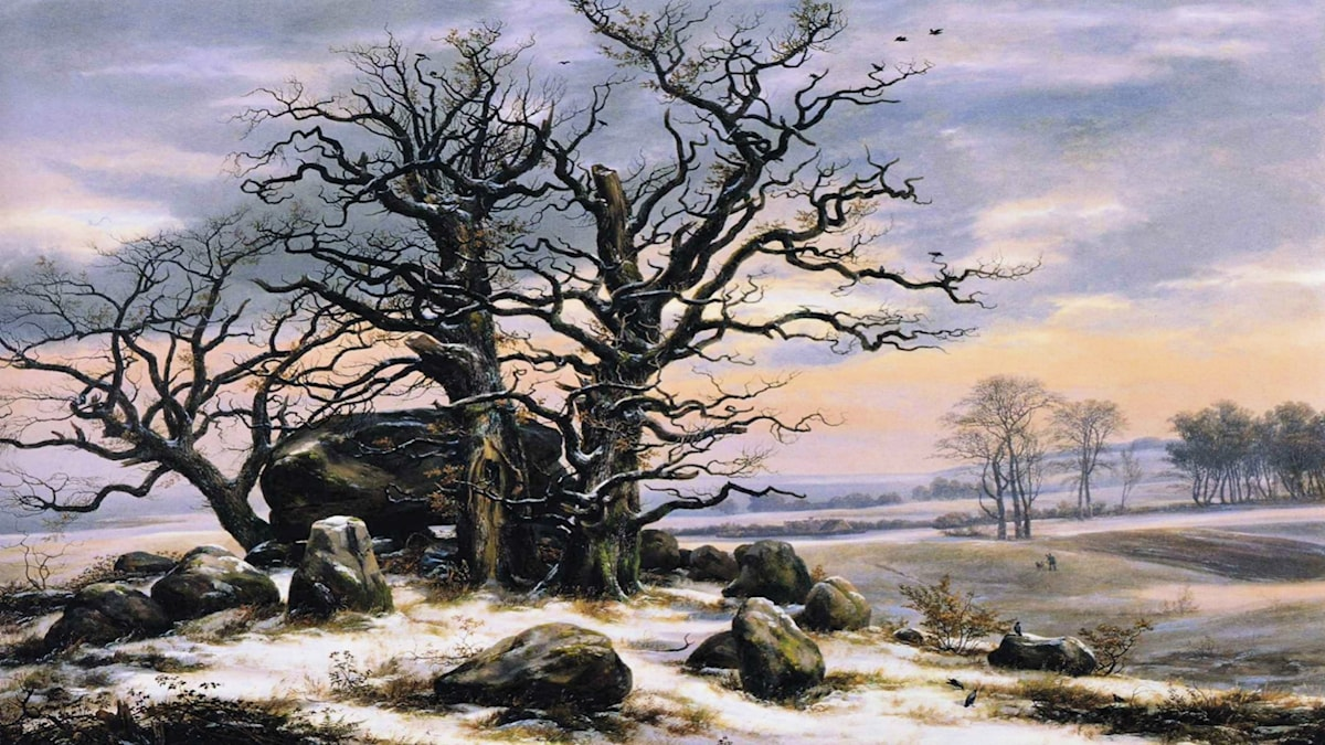 'Megalitgrav på vintern'. Johan Christian Dahl (1824-1825).