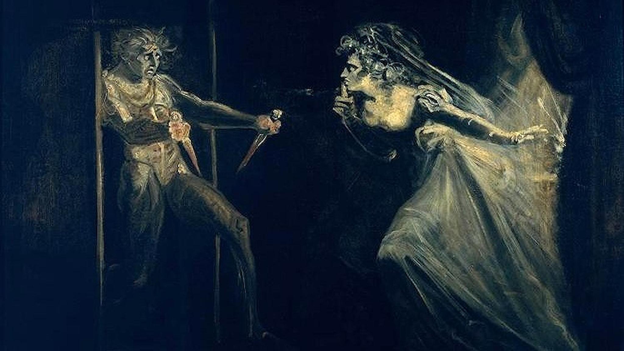 Lady Macbeth griper dolkarna. Henry Fuseli.1812. Wikiart.